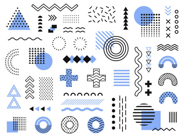 Memphis design elements. Retro funky graphic, 90s trends designs and vintage geometric print illustration element vector collection Memphis design elements. Retro funky graphic, 90s trends designs and vintage geometric print illustration element. Constructivism memphis vector isolated symbols collection backgrounds symbols stock illustrations