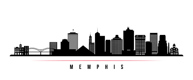 Memphis skyline horizontal banner. Black and white silhouette of Memphis, Tennessee. Vector template for your design.