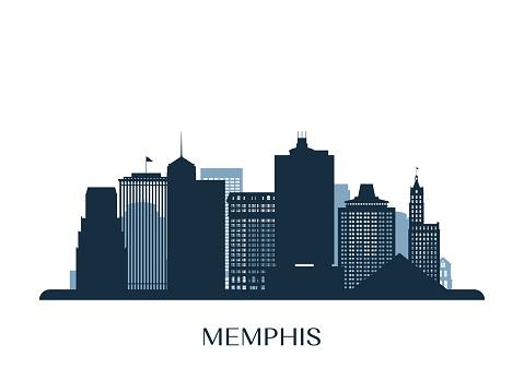 Memphis skyline, monochrome silhouette. Vector illustration.