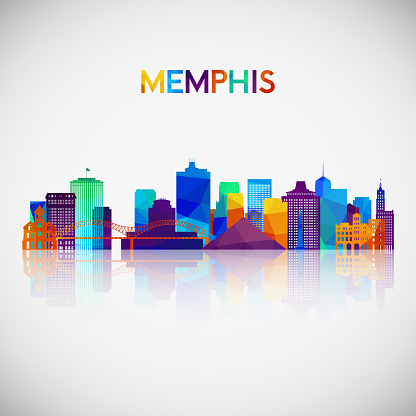 Memphis skyline silhouette in colorful geometric style. Symbol for your design. Vector illustration.