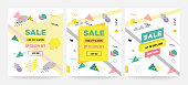 Memphis style sale cards Design Collection of Colorful templates with geometric shapes, patterns with trendy Memphis fashion 80s-90s. Perfect for ad, invitation, presentation