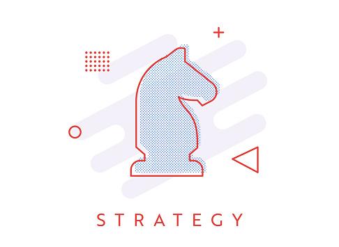 Memphis Style Single Halftone Strategy Icon