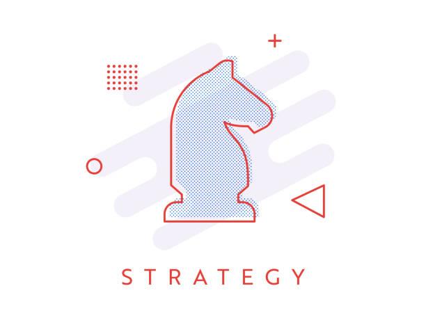 bildbanksillustrationer, clip art samt tecknat material och ikoner med ikon i memphis stil single halv tons strategi - häst tävling