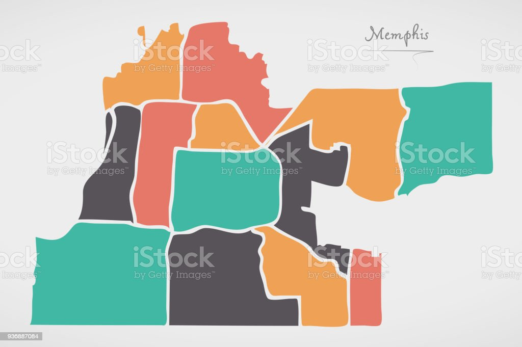 Memphis Tennessee Map With Neighborhoods And Modern Round Shapes