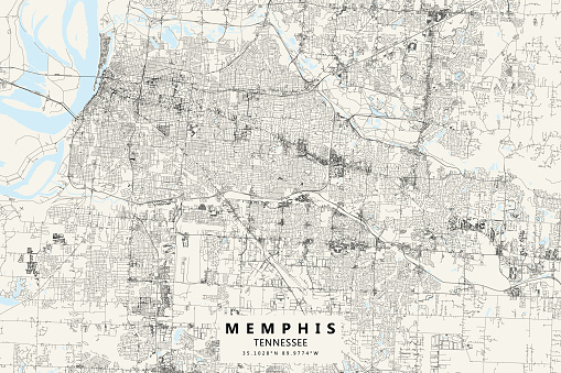 Memphis, Tennessee, United States of America Vector Map