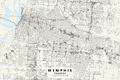 Poster Style Topographic / Road map of Memphis, TN, USA. Original map data is open data via © OpenStreetMap contributors. All maps are layered and easy to edit. Roads have editable stroke.