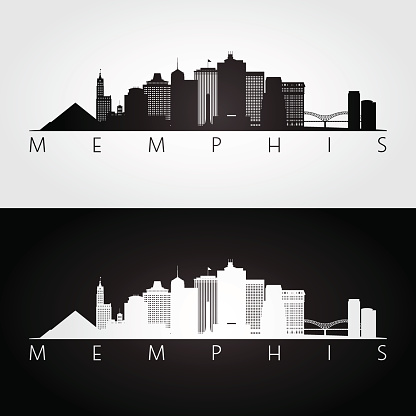 Memphis, USA skyline and landmarks silhouette, black and white design, vector illustration.