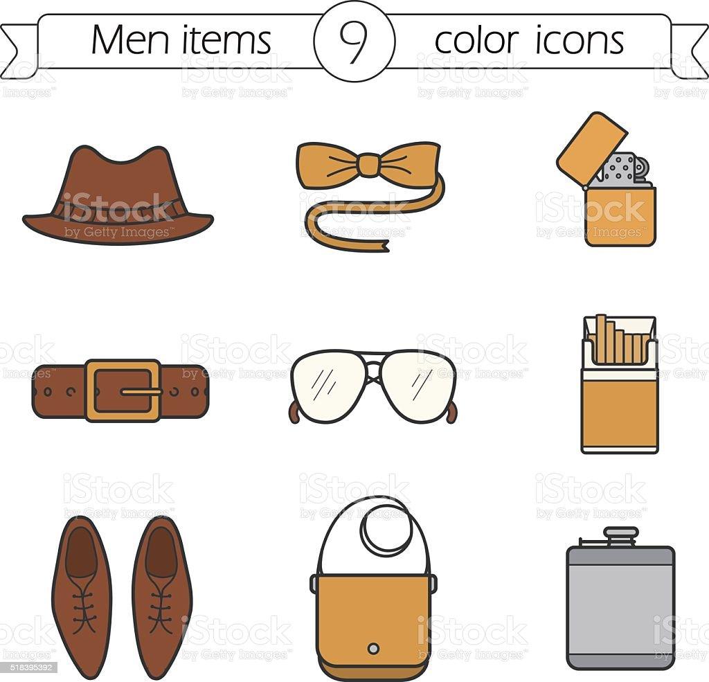 Men accessories icons vector art illustration