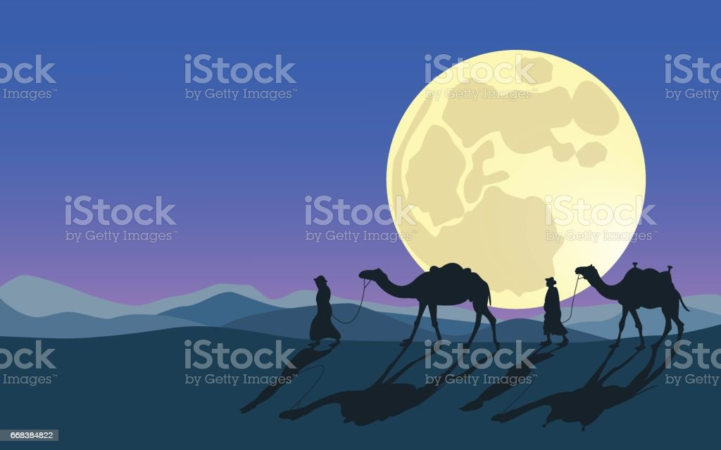 Men and camels do across desert in moonlight. Full and super moon. Desert safari. vector art illustration