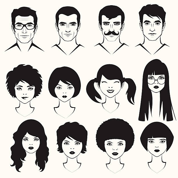men and woman face - old man hair stock illustrations, clip art, cartoons, & icons