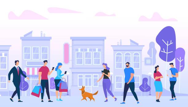 illustrazioni stock, clip art, cartoni animati e icone di tendenza di men and woman walking in city. urban lifestyle. - city walking background