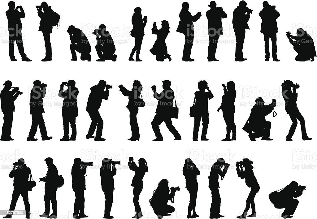 Men and woman with camera vector art illustration