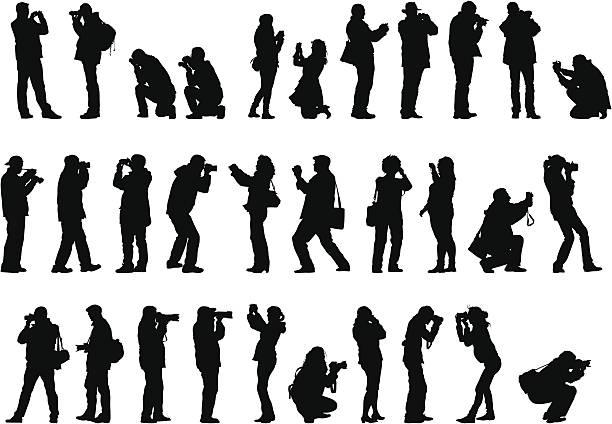 mężczyźni i kobiety z kamery - fotografika stock illustrations