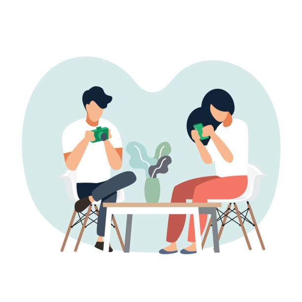 ilustrações de stock, clip art, desenhos animados e ícones de men and women are relaxing in the living room.vector illustration cartoon character - coffee table