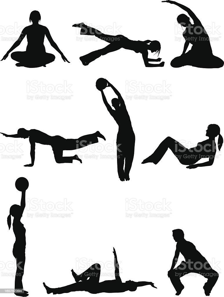 Men and women body sculpting doing yoga pilates royalty-free stock vector art