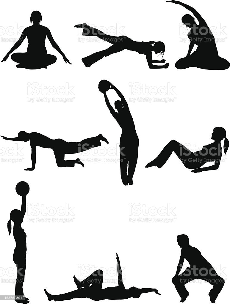Men and women body sculpting doing yoga pilates vector art illustration