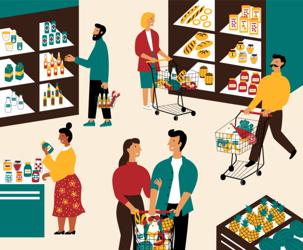 illustrazioni stock, clip art, cartoni animati e icone di tendenza di men and women buying products at grocery store. people with shopping carts at  supermarket. customers in retail shop. flat cartoon vector illustration. - mercato frutta donna