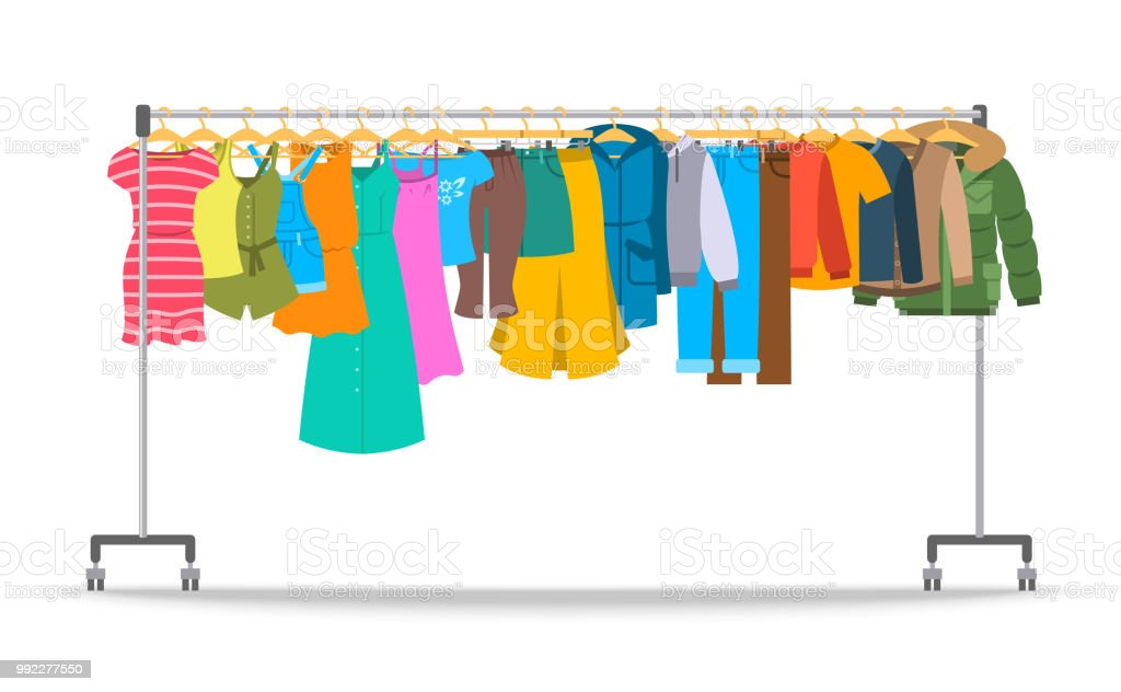 Men and women casual clothes on hanger rack