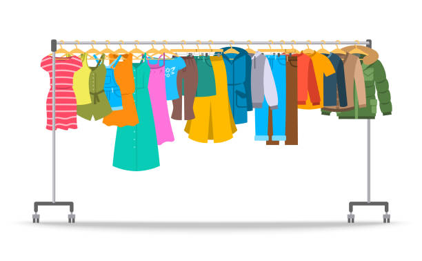 Men and women casual clothes on hanger rack Men and women casual clothes on hanger rack. Flat style vector illustration. Male and female apparel hanging on shop rolling display stand. New fashion collection. Seasonal sale concept showroom stock illustrations