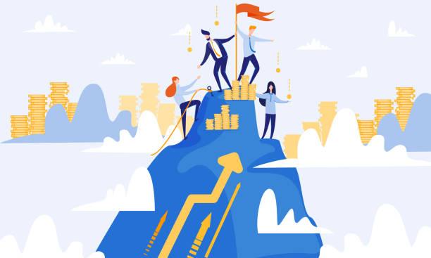 ilustraciones, imágenes clip art, dibujos animados e iconos de stock de hombres y mujeres suben a la cima de la montaña. trabajo en equipo. - mountain top