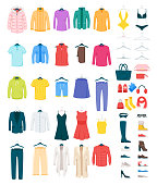Men and women clothes on hangers vector illustrations set. Footwear and accessories isolated cliparts pack. Winter and summer seasonal outfits. Dresses, shirts, boots fashionable boutique assortment