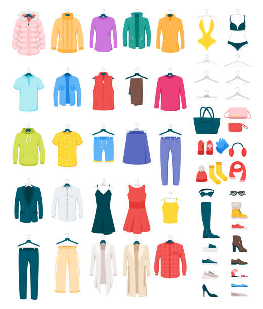Men and women clothes on hangers vector illustrations set Men and women clothes on hangers vector illustrations set. Footwear and accessories isolated cliparts pack. Winter and summer seasonal outfits. Dresses, shirts, boots fashionable boutique assortment clothing stock illustrations