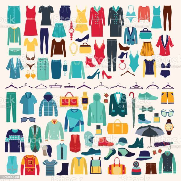 Men and women clothes vector icon set vector id670999038?b=1&k=6&m=670999038&s=612x612&h=rykzyuy3t8mrlvpo6wq02skhzm69i2ol6tzsauakz7c=