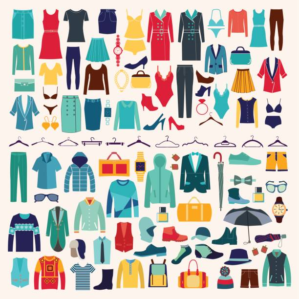 men and women clothes vector icon set. - womens fashion stock illustrations, clip art, cartoons, & icons
