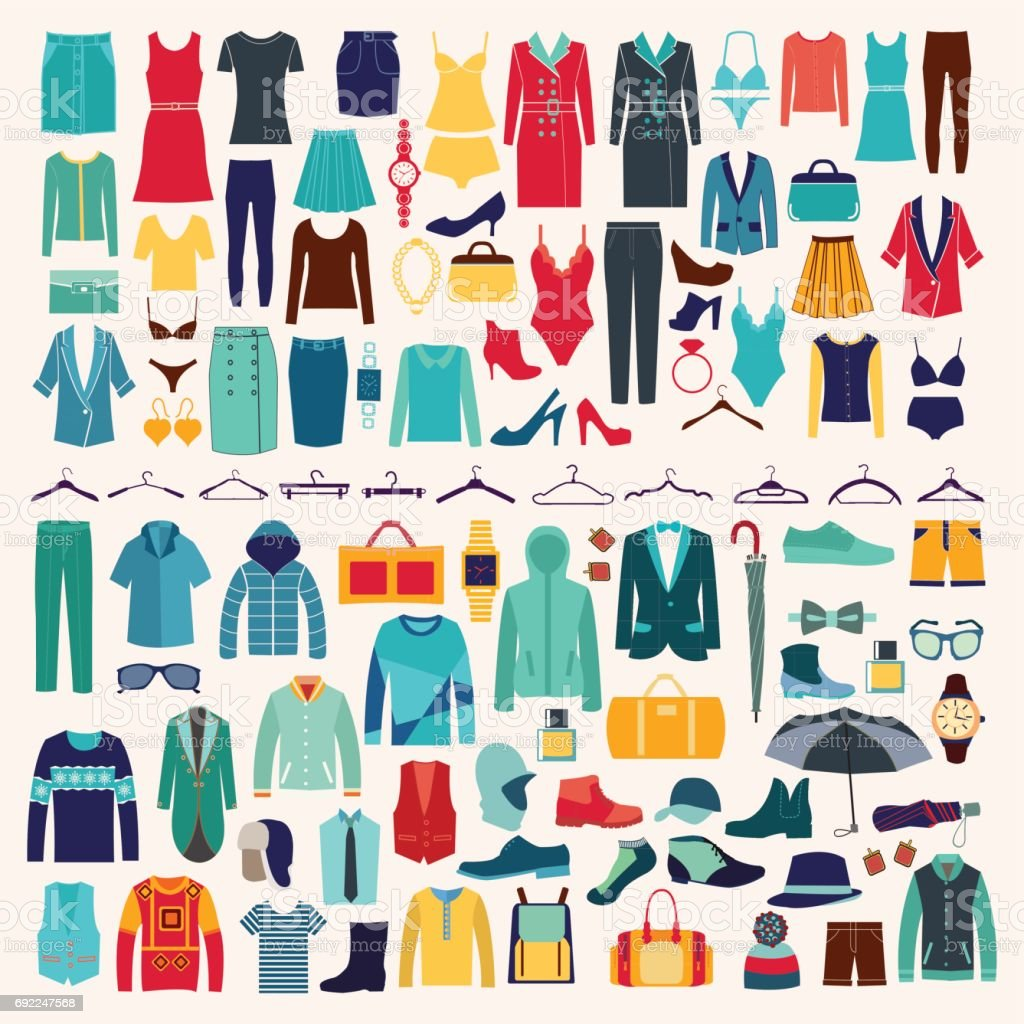 Men and women clothes vector icon set. vector art illustration