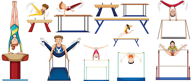men and women doing different sports - gymnastics stock illustrations, clip art, cartoons, & icons