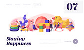 Men and Women Gaming Activity Website Landing Page. Characters Playing with Baby Toys in Kindergarten Different Playthings for Children, Childhood Web Page Banner. Cartoon Flat Vector Illustration