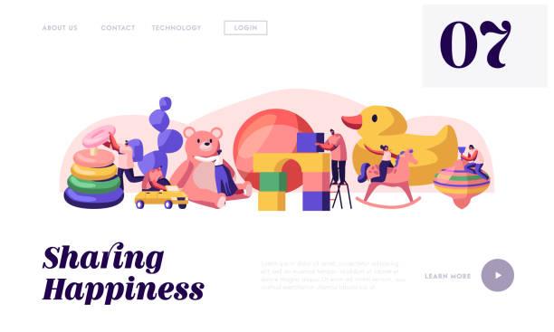 男女のゲームアクティビティサイトランディングページ。幼稚園で赤ちゃんのおもちゃで遊ぶキャラクター子供のための異なる遊び物、子供の頃のウェブページバナー。漫画フラットベクト� - 保育点のイラスト素材/クリップアート素材/マンガ素材/アイコン素材