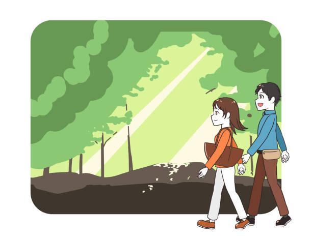 illustrazioni stock, clip art, cartoni animati e icone di tendenza di men and women going out forest - forest bathing