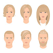 Men and women haircuts vector