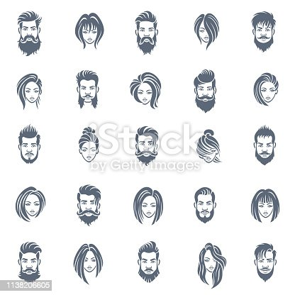 Men and Women Hairstyle Icon Set