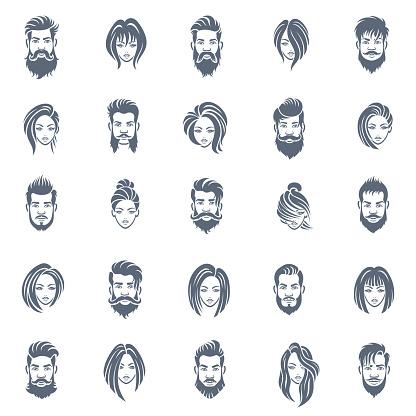 Men and Women Hairstyle Icon Set