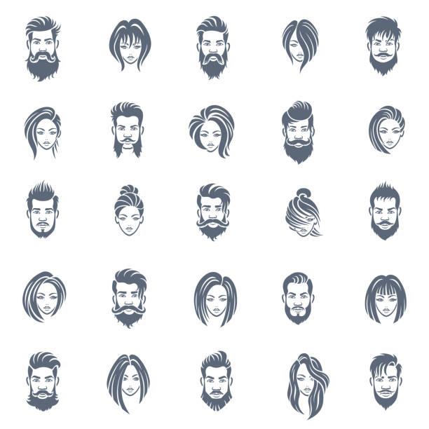 ilustraciones, imágenes clip art, dibujos animados e iconos de stock de hombres y mujeres peinado icono conjunto - cabello largo