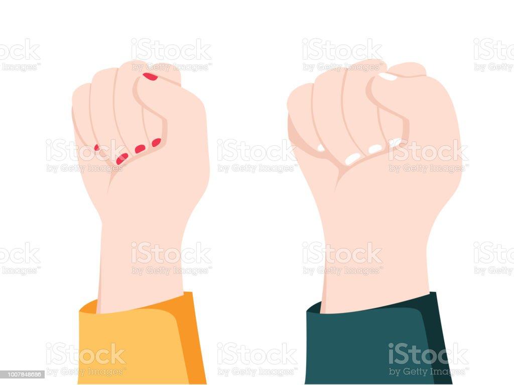 Männer Und Frauen Hände Mit Gesten Konzept Der Widerstand Kraft ...