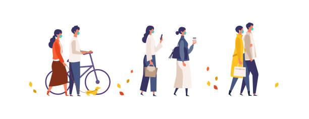 男性と女性は新しい正常で休みを取っています。ショッピング、デート、ウォーキング。 - マスク 日本人点のイラスト素材/クリップアート素材/マンガ素材/アイコン素材