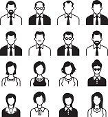 Men and Women Icon Set, Black & White
