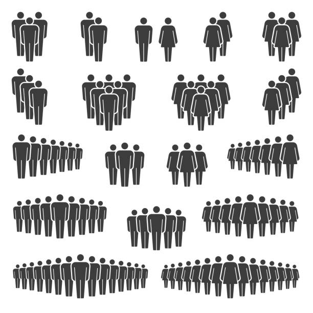 Men and Women icons group Compositions of groups of men and women classic vector icon signs stick figure stock illustrations