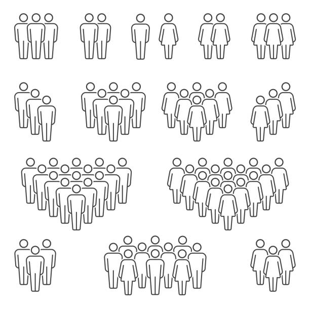 Men and Women icons group Compositions of groups of men and women classic vector icon signs crowd of people stock illustrations