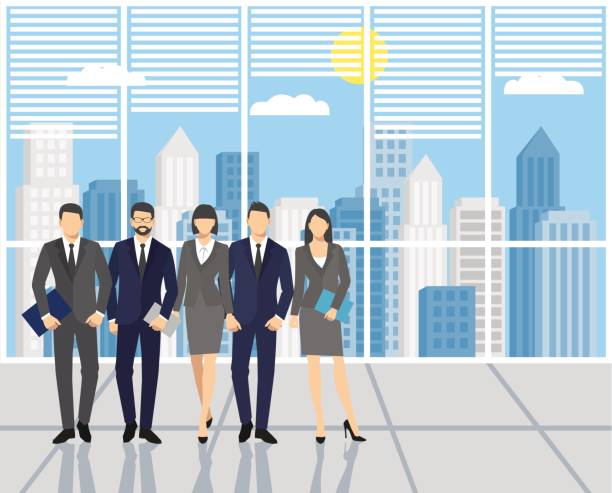 Men and women in the office. Concept teamwork. Men and women in the office. Set of business people, office team isolated color stock illustrations