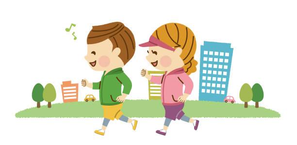 ilustrações de stock, clip art, desenhos animados e ícones de men and women jogging - young woman running city