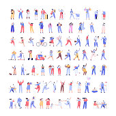 Different people. Flat vector characters isolated on white background.
