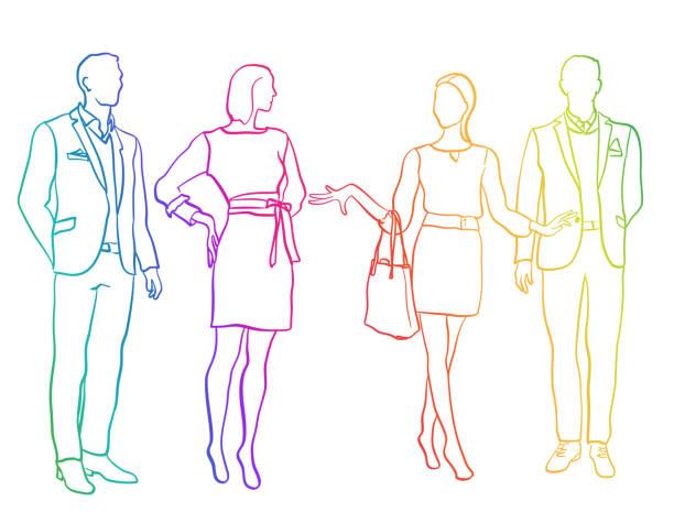 männer und frauen mannequins regenbogen - elegante kleidung stock-grafiken, -clipart, -cartoons und -symbole