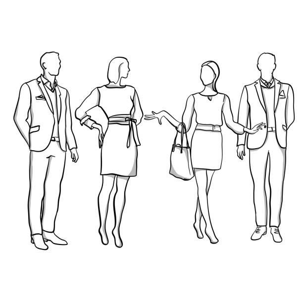 Men And Women Mannequins Tall and slim mannequins fashion design sketches stock illustrations