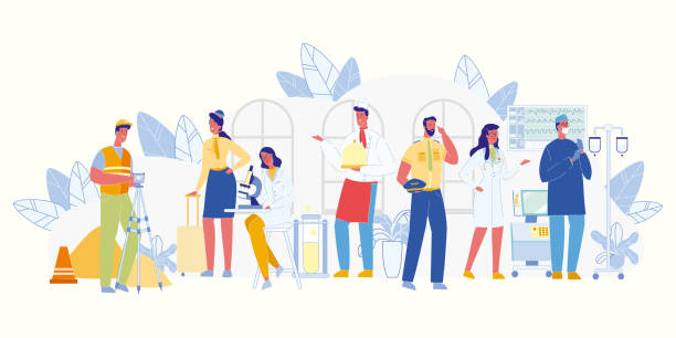 Men and Women of Different Profession Occupation. Modern Occupation. Men and Women of Different Professions. Works, Services. Doctor and Nurse. Policeman, Builder and Waiter. Scientist and Air Hostess. People Career. Labor Day Concept. Vector EPS 10. human representation stock illustrations