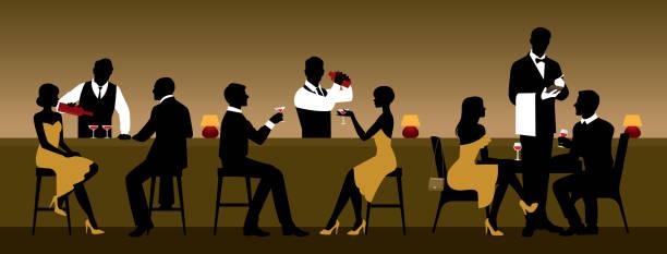 illustrazioni stock, clip art, cartoni animati e icone di tendenza di men and women rest in a nightclub near the bar counter - dinner couple restaurant