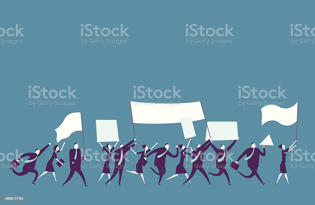 Men and women running holding flags in a row vector art illustration